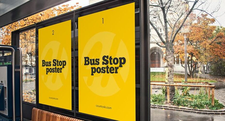 Free Bus Stop Poster PSD MockUp
