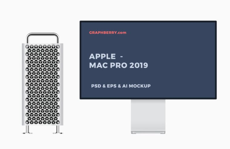 Mac Pro 2019 AI EPS PSD Mockups