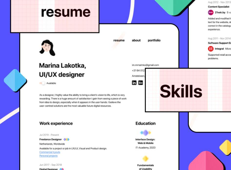 Minimal Figma CV Resume Freebie