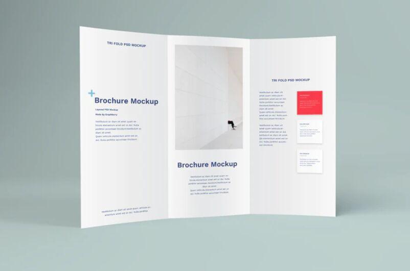 Standing Tri Fold Brochure PSD Mockup