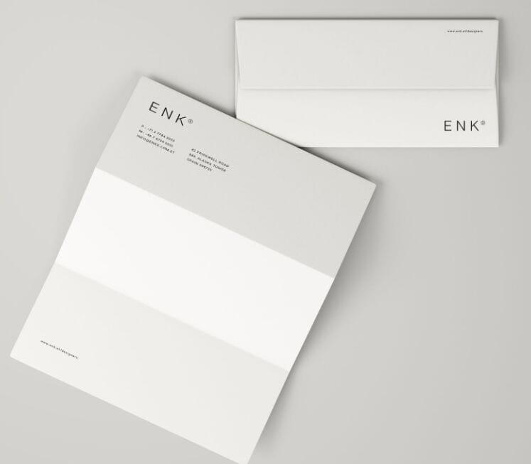 Minimal Envelope and A4 Folded Letterhead Mockup