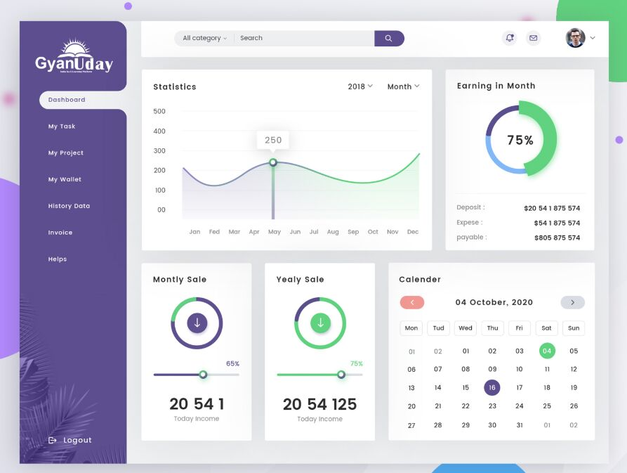 Admin Dashboard Panel PSD Template