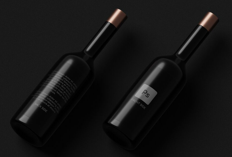 Dark Wine Bottles Mockup