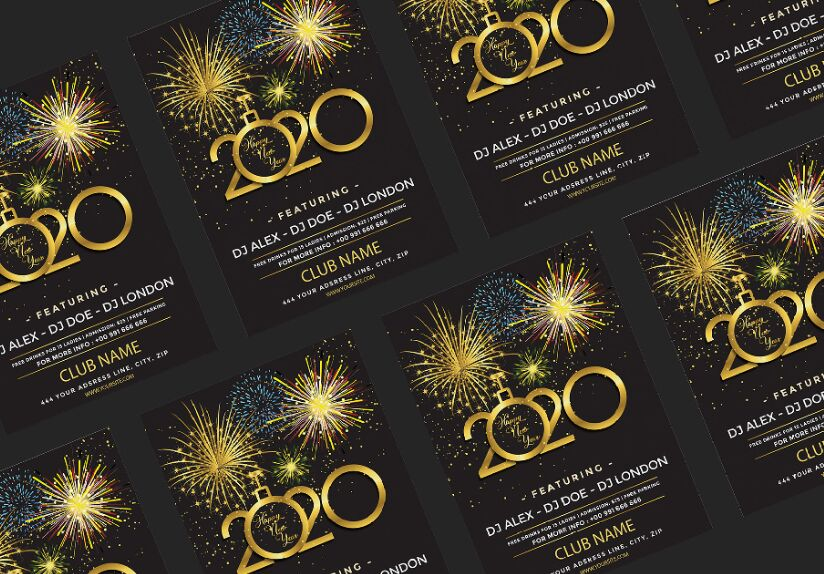 New Year Flyer 2020 Vector Mockup