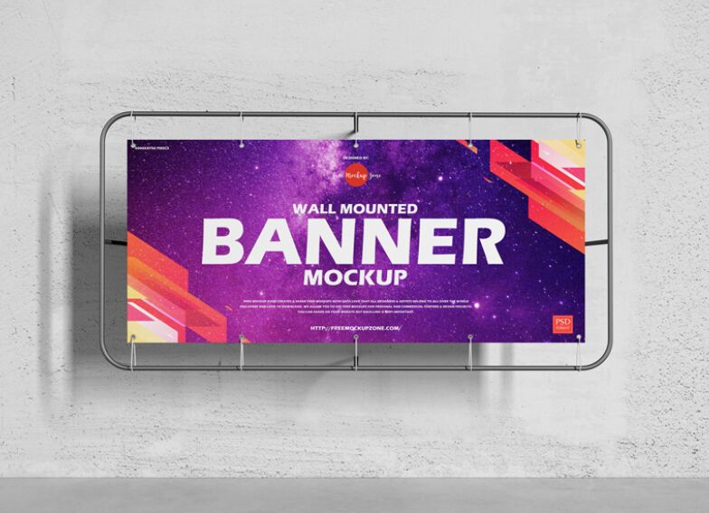 Wall Mounted Banner Mockup