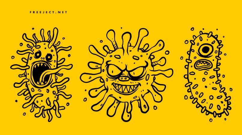 3 Virus Monster Character Hand Drawn Illustrations