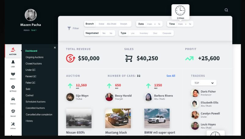 Auction Dashboard UI Adobe XD