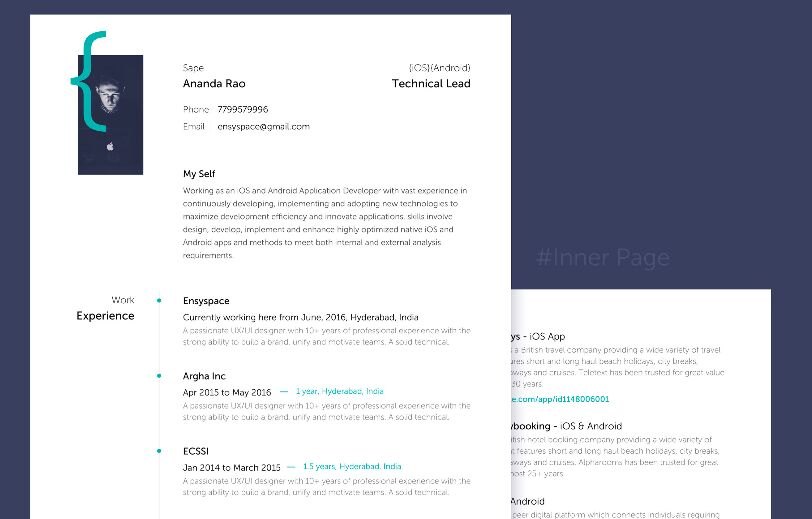 Clean Resume PSD Template For App Designers