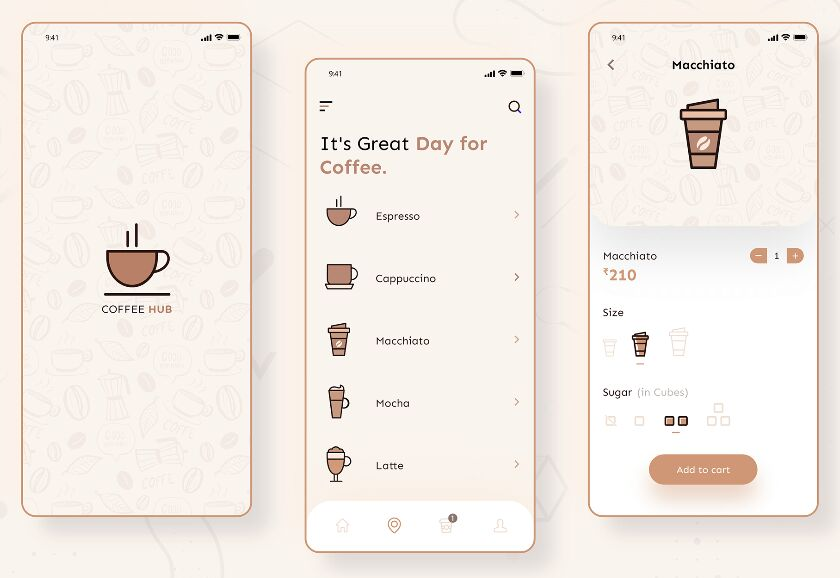 Coffee Shop App UI For Adobe XD
