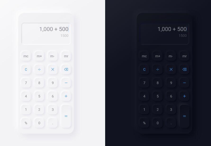 Neumorphism Calculator Free UI Kit