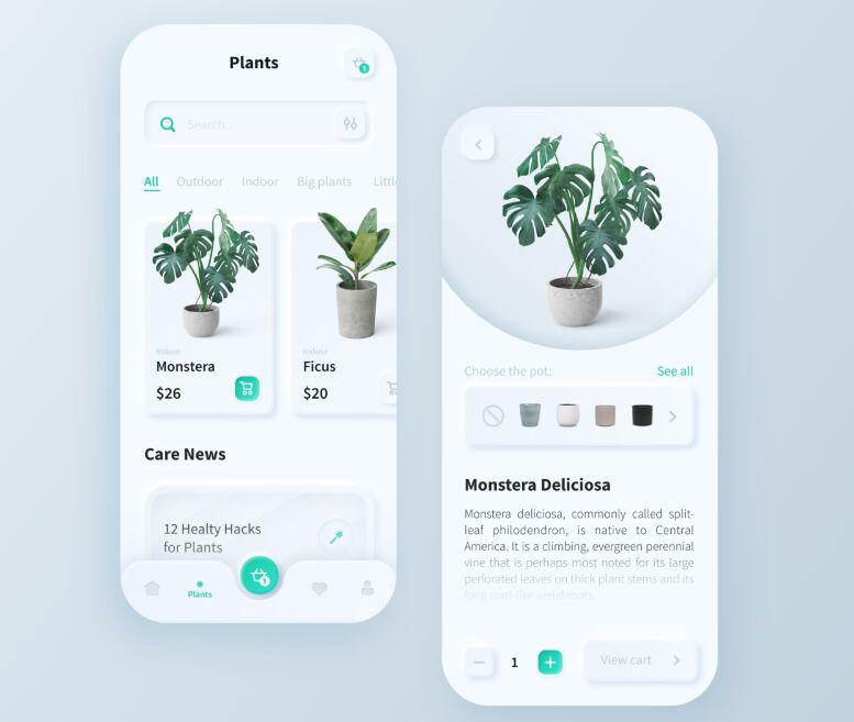 Plant Mobile App Neumorphism Design