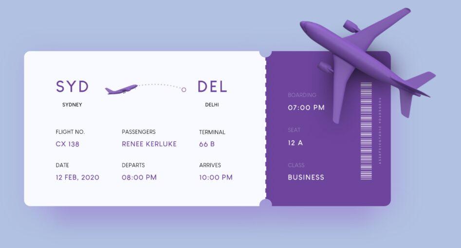 Boarding Pass UI Design For Adobe XD