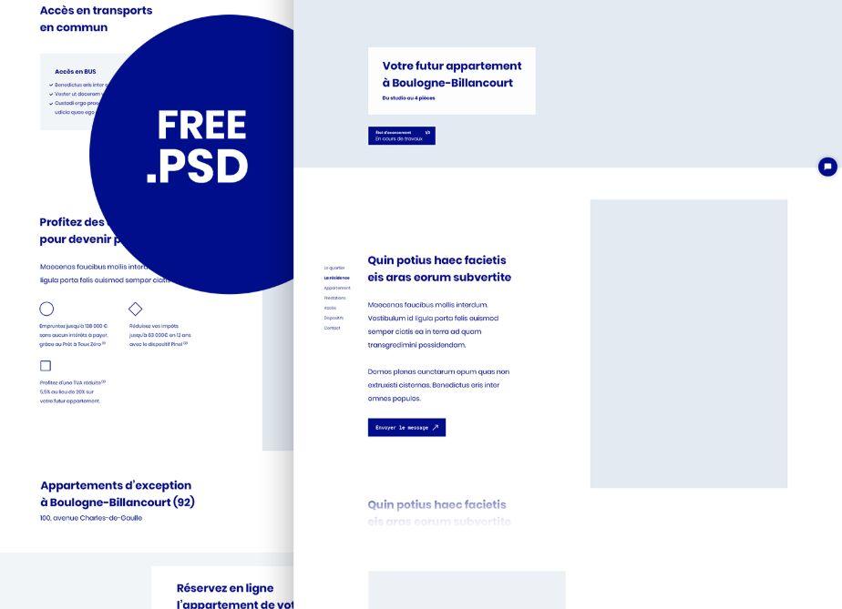 Free Minimal Landing Page PSD Template