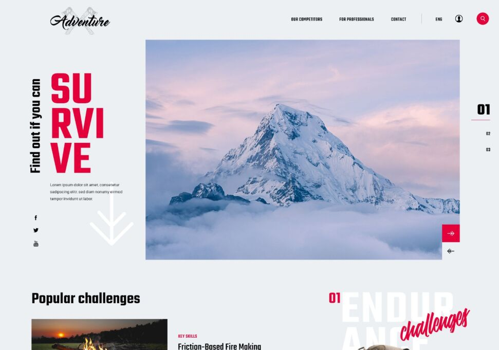 Survival Themed Website XD Template