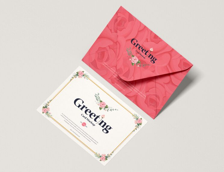 Top View Greeting Card With Envelope Template