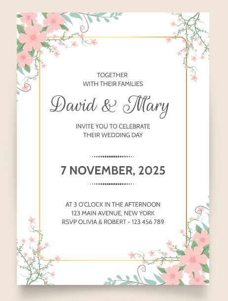 Wedding invitation template Free Download