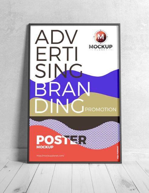 Free Branding Black Framed Poster Mockup Design