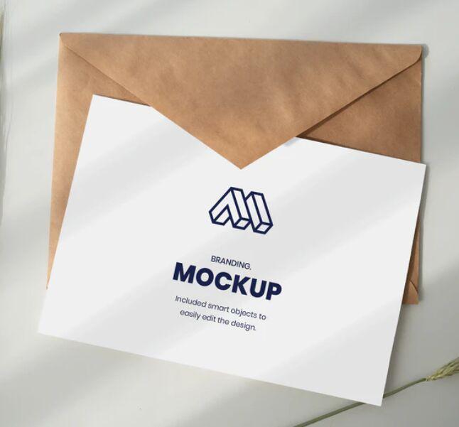 Paper Above Envelope Mockup