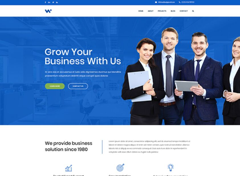 Free Corporate Website Template PSD