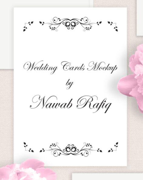 Free Wedding Cards Mockup Editable PSD