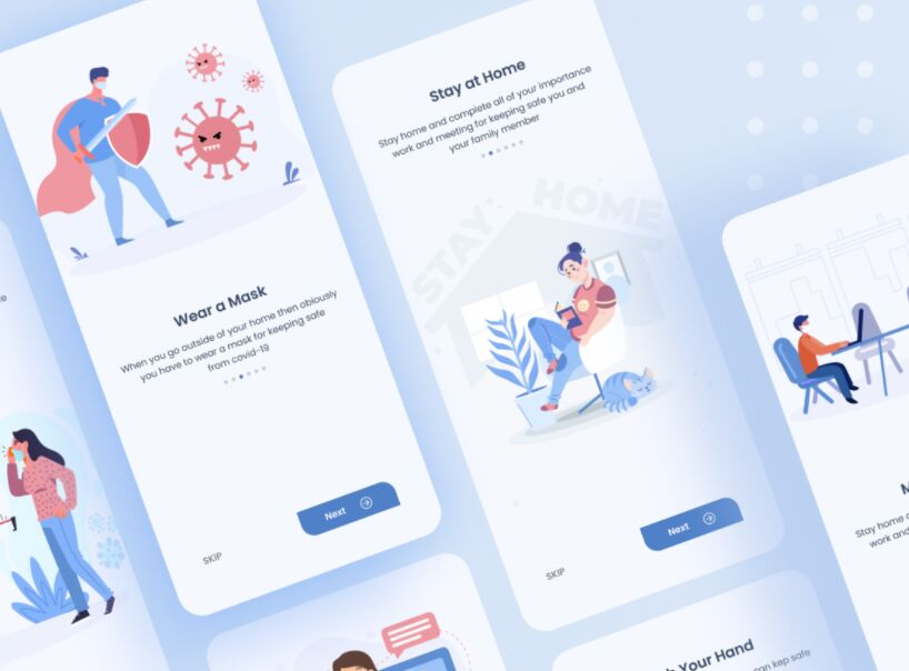 Clean Onboarding Screen For COVID-19 App