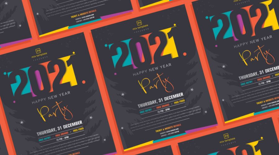 Free Creative Happy New Year 2021 Party Flyer Template