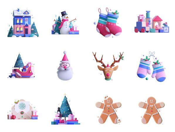 3D Christmas icons