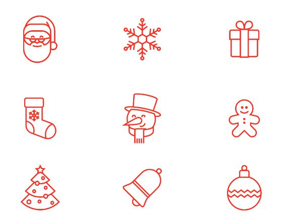 6 Christmas Icons Vector
