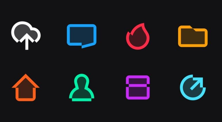 8 Line Icons Vector