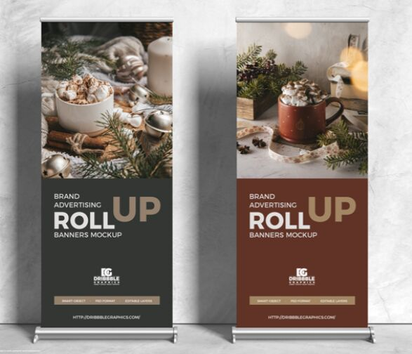 Free Brand Advertising Roll Up Banners Mockup