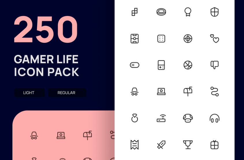 250 Free Gamer Life Icon Pack