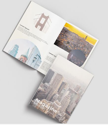 A4 Opened Magazine Cover Mockup PSD