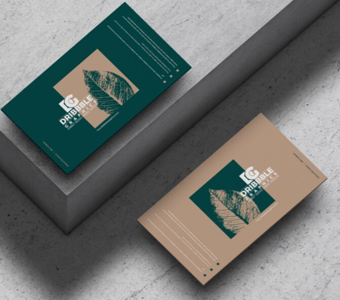 Business Cards on Concrete Floor Mockup