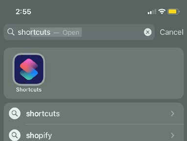 Open the Shortcuts app