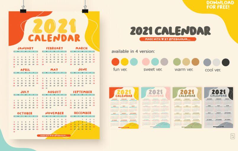 4 Colorful 2021 Calendars