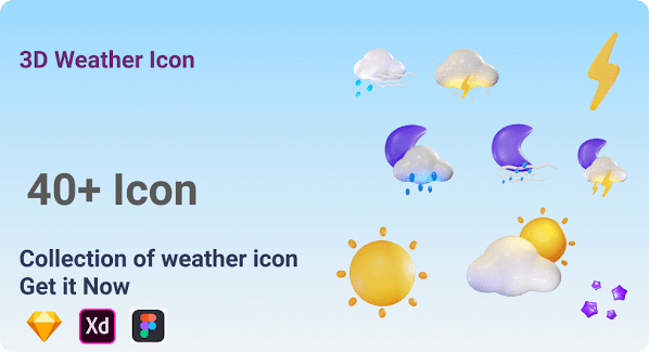 3d Weather Icons For Adobe XD, Figma and Sketch