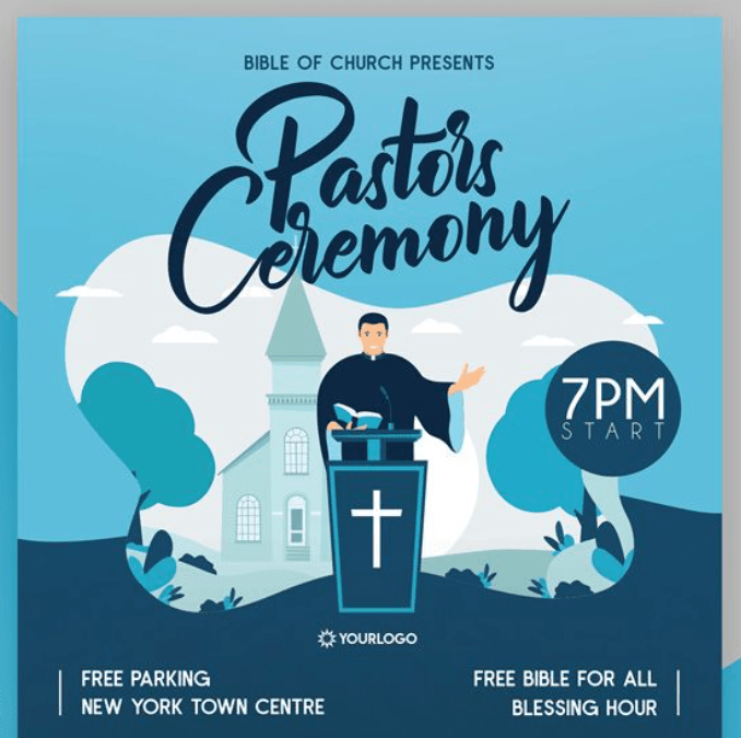 Free Pastor's Ceremony Flyer PSD Template
