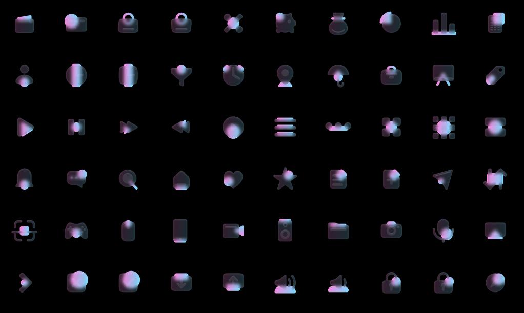 100 Glassmorphism Style Icons Pink