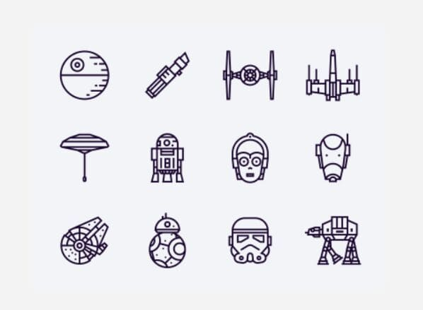 12 Vector Star Wars Icons