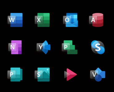 18 Glassmorphism Style MS Office App Icons