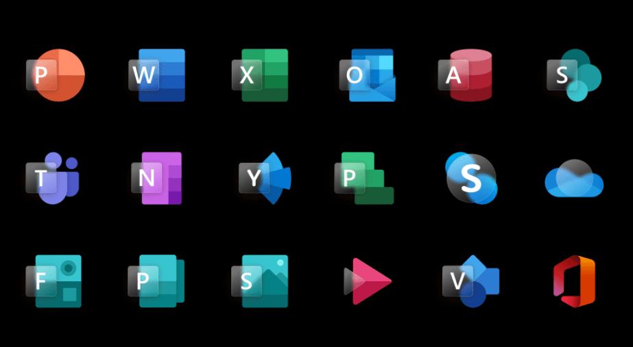 18 Glassmorphism Style MS Office App Icons
