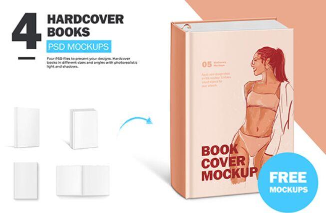 4 Hardcover Book Mockups