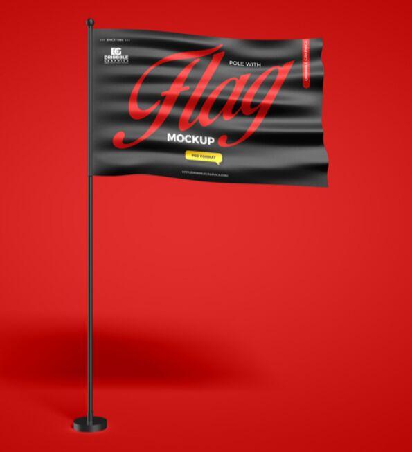 Free Pole With Flag Mockup