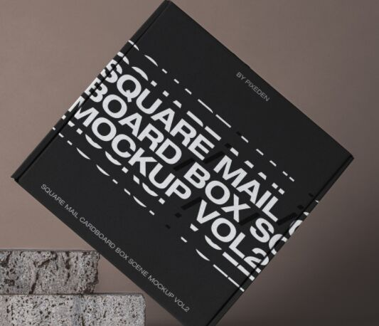 Square Psd Mail Cardboard Box Mockup 2