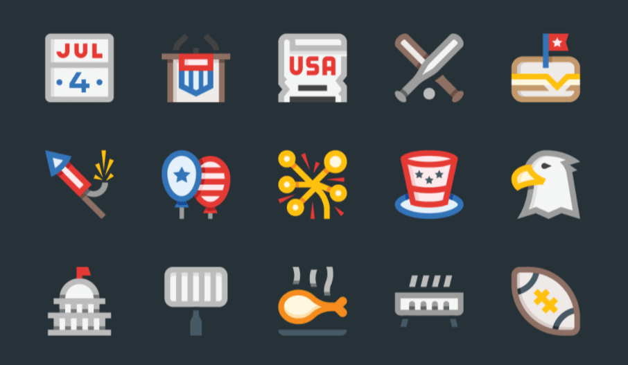 22 High Quality 4th Of July Independence Day Icons