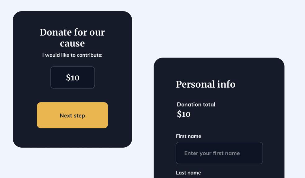 Donate Card UI Design Sketch