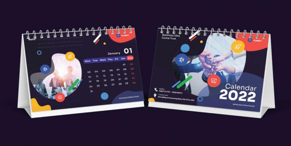 Wall and Desk Business Calendar 2022