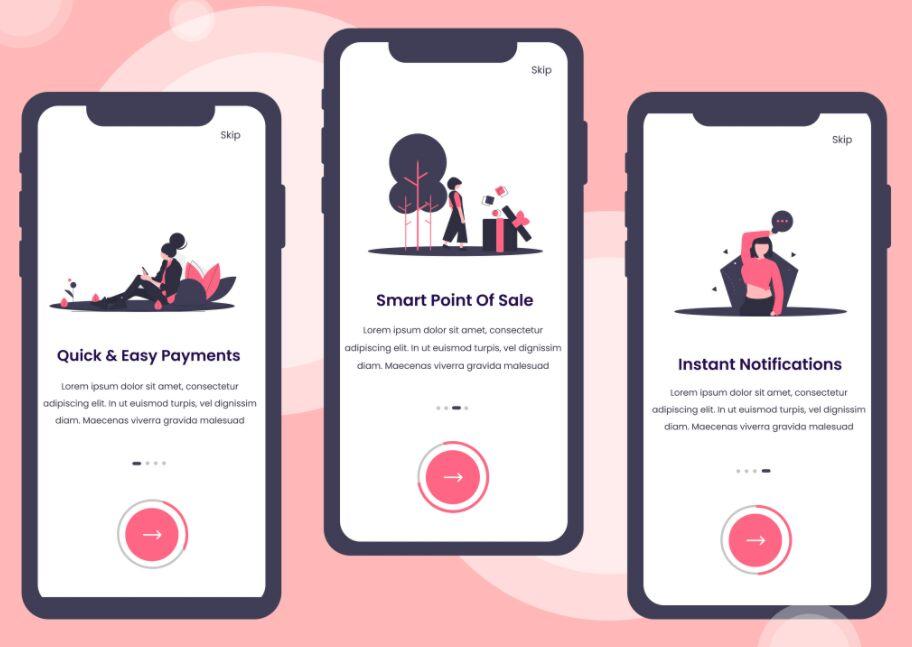 Online Payment App Onboarding Screens