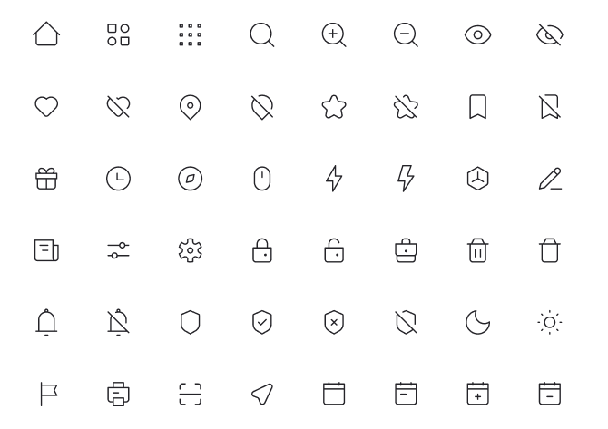 1500+ UI Icons In 5 Styles Thin Line