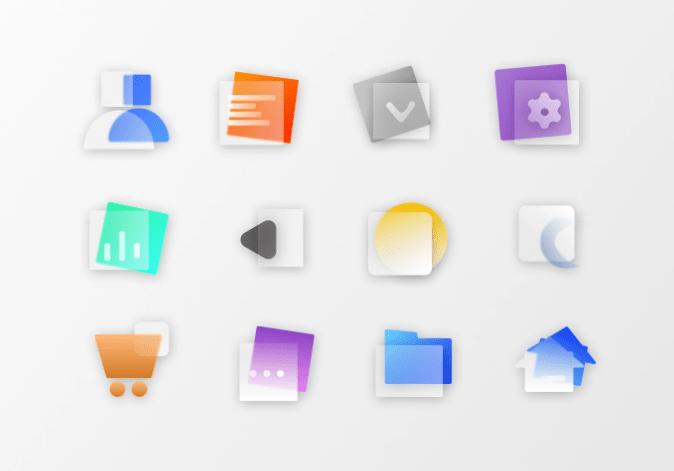 22 Glassmorphism Icons
